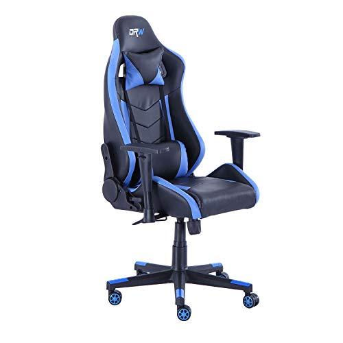 DRW Pro, Silla Gaming, Sillon de Oficina o Despacho, Estudio o Escritorio, Acabado en Símil Piel Negro y Azul, Medidas: 70 cm (Ancho) x 70 cm (Fondo) x 124-134 cm (Alto)