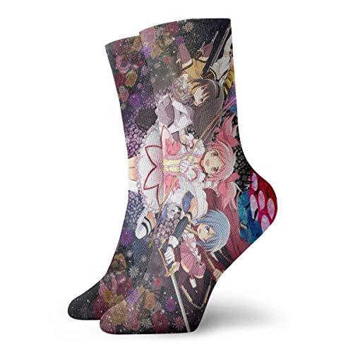 Calcetines unisex de longitud media, Puella Magi Madoka Magica Calcetines de negocios Calcetines Botas de mujer Hasta la rodilla Regalo a media pierna Calcetines novedosos Calcetines de algodón de mo