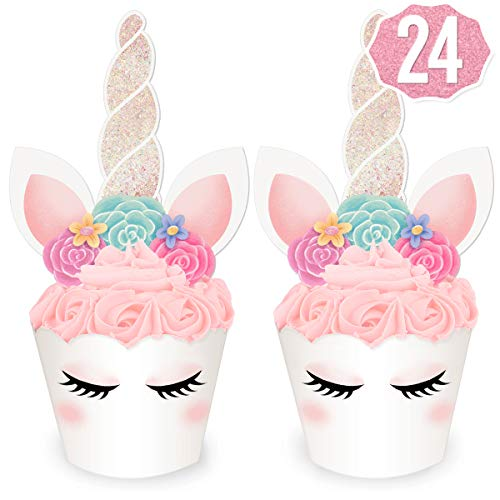 xo, Fetti Unicorn Cupcake Toppers + Wrappers | Birthday Party Supplies, Unicorn Horn Cake Decoration + Baby Shower - Set of 24