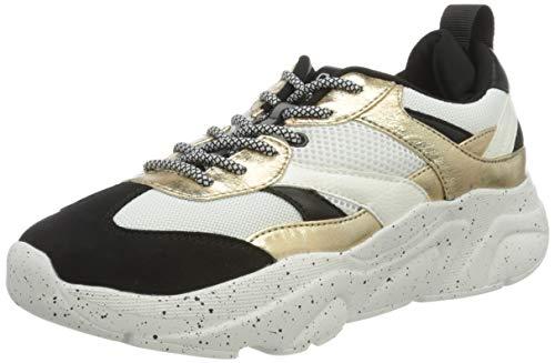 ONLY ONLSANNA-3 PU Chunky Sneaker, Zapatillas Mujer, Detail W Gold White, 40 EU
