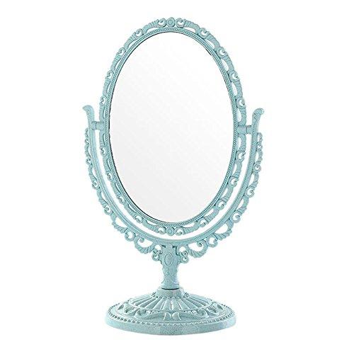 SYT Cosmetic mirror Côtés Miroir demaquillage Rotatif Support detable Compact Miroir enplastique Dresser Miroirs cosmétiques Outil, 12.7x29.7x13cm, Bleu