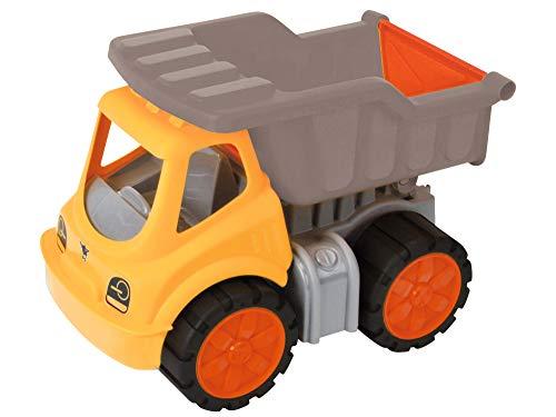 BIG 800055831 Power Worker Kipper, Spielzeug Auto ideal für Unterwegs, Reifen aus Softmaterial, bewegliche Kippmulde mit Ladekappe, sonnengelb für Kinder ab 2 Jahren