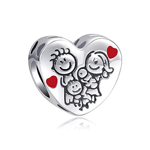 LaMenars Love Charm para pulseras Pandora 925 Silver colgante abalorios para mujeres collares regalo para el cumpleaños del día de la madre (A-Familia feliz)