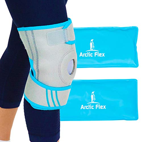 Vive Knee Ice Wrap - Hot Therapy Brace - Gel Packs for Arthritis, Surgery and Workout Pain Relief - Reusable Cooling Support - Flexible Compression for Men, Women, Swelling, Injury and Sprains