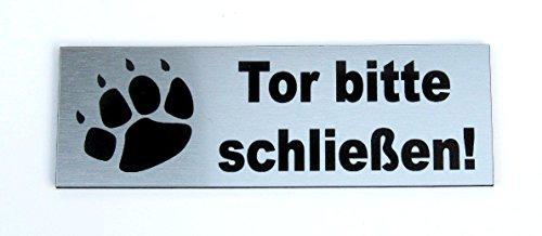 Torschild, Tor Bitte schließen, 12 x 4 cm, Gravur, Schild, Hundeschild, Hinweisschild