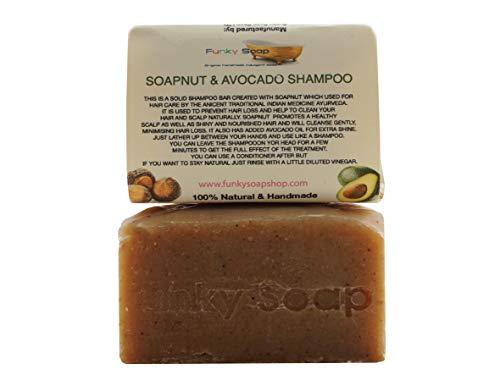 Funky Soap Einteilig Waschnuss und Avocado Öl Shampoo bar 100% Natürlich Handgemacht, 1 bar Of 120g