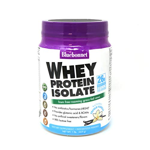 Bluebonnet Nutrition Whey Protein Isolate Powder, Whey From Grass Fed Cows, 26g of Protein, No Sugar Added, Non GMO, Gluten Free, Soy free, kosher Dairy, 1 Lb, 14 Servings, French Vanilla Flavor