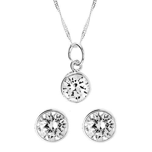 Córdoba Jewels | Conjunto de Gargantilla y Pendientes en Plata de Ley 925. Diseño Chatón Zirconium