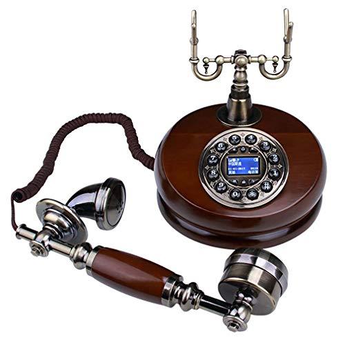 ZJUAN Madera Maciza Teléfono De Marcación Rotatoria,Clásico Campana De Metal Teléfono Retro Vintage,Anti Radiación Llamada Cómoda Teléfono Fijo Marcación Giratoria