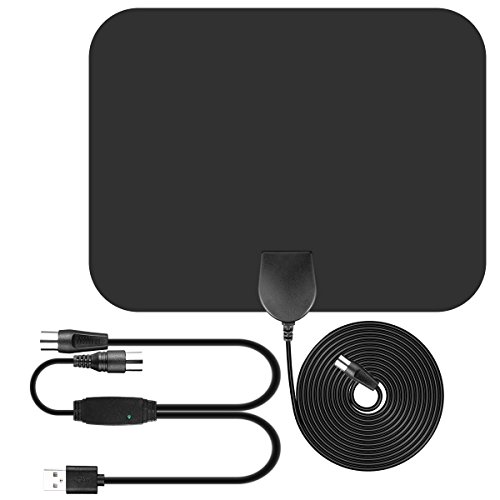 Antena de TV , Parsion Antena de TV interior de rango amplificado de 50 millas con amplificador de señal y amplificador avanzado y cable coaxial de 16.5 pies