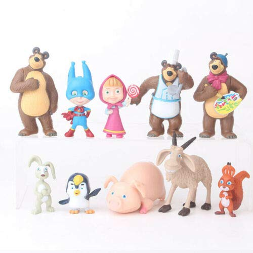 Highest_Shop New Chic Durable The Bear Masha Bear 10 PCS Action Figures Toy Dolls Gift Cake Topper Gift Idea Kids Children