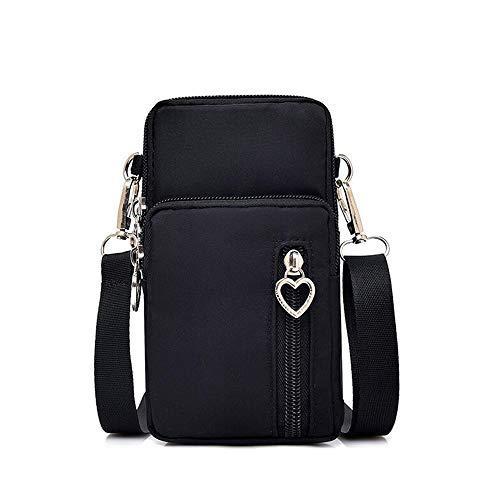 Women Nylon Cell Phone Purse Travel Crossbody Bag Wristband Sport Armband Wallet for Galaxy S10 Plus S9 Plus A50 A7 J7 Prime J7 V J7 Pro J4, Moto G7 Z4 Z3 G6 E5 Play, HTC U12 Plus, OnePlus 6T (Black)