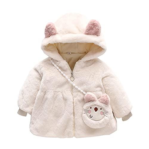 Sunbona Infant Baby Girls Cute Ear Hooded Sherpa Fleece Coat Winter Warm Thicken Puffer Jacket Outwear Clothes (White, 2-3 Years)
