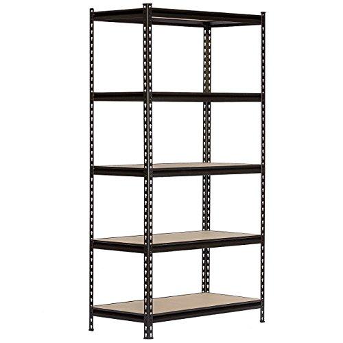 King's Rack 5-Tier Black Steel Storage Rack Boltless Shelving Tier Height Adjustable 30 W x 12 D x 60 H