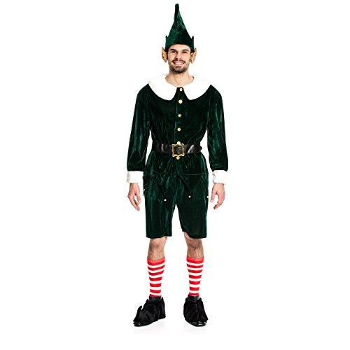 Kostümplanet® Elfen-Kostüm Herren Gnom Zwergen-Kostüm Nikolaus Größe 52/54