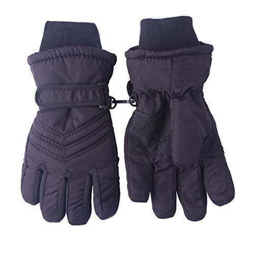 Kids Boy Girls Winter Snowproof Waterproof Snow Ski Gloves Mittens Thermal Warm (Black, 3-5Years)
