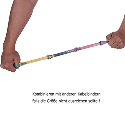 Kabelbinder mit Klett, 20CM 50 Stück Trilancer Wiederverwendbare Klettkabelbinder Kabelklett (Bunt)
