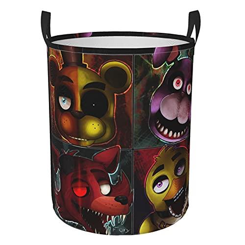 Five Nights at Freddy - Cesta de lavandería redonda impermeable con asa, bolsa de almacenamiento multifuncional plegable (dos tamaños) S