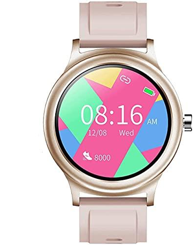 wyingj Reloj inteligente 1.28 con pantalla táctil completa de actividad IP68, resistente al agua, Bluetooth Smartwatch Fitness Tracker con reloj deportivo para mujeres, niños, hombres, azul y dorado