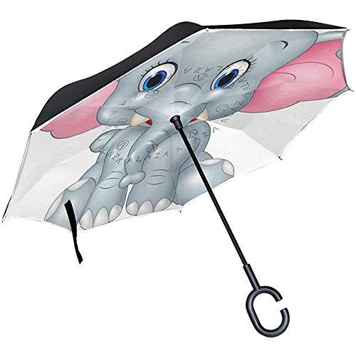 ETGeed Umgekehrter Regenschirm-Karikatur-lustiger Baby-Elefant umgekehrter Regenschirm umschaltbar