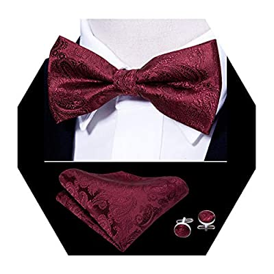 Barry.Wang Mens Burgundy Bow Tie and Pocket Square Set Silk Pretied Bow Tie Hankerchief Cufflinks