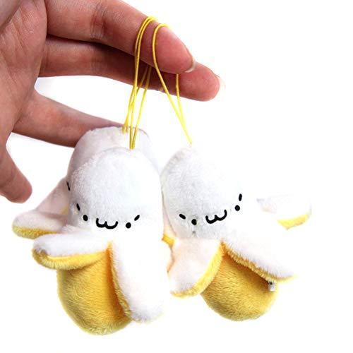 TOYANDONA Schlüsselanhänger, 3 Stück, Schlüsselanhänger, mit Bananenform, kreativ, Plüsch, Bananenspiel, Geschenk für Kinder (gelb)