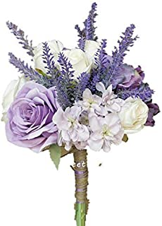 Sweet Home Deco Silk Mixed Floral Rustic Wedding Bouquet in Lavender Purple Ivory Bridal Bouquet Bridesmaid Bouquet Boutonniere (8''W Lavender Bouquet)