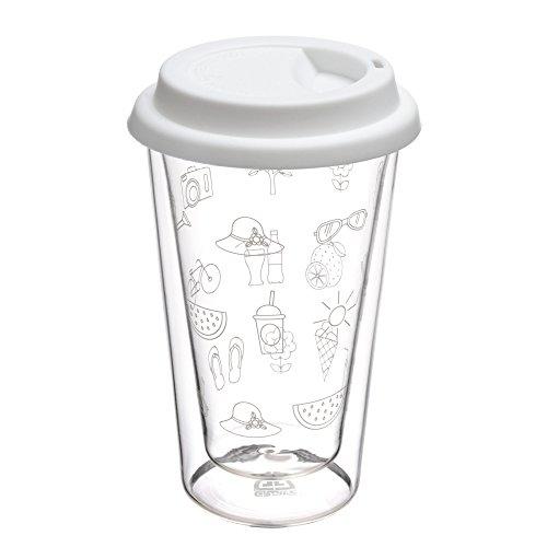 GRÄWE Glas-Becher, 0,3 Liter - doppelwandiger Coffee to Go-Isolierbecher mit weißem Silikon-Trinkdeckel