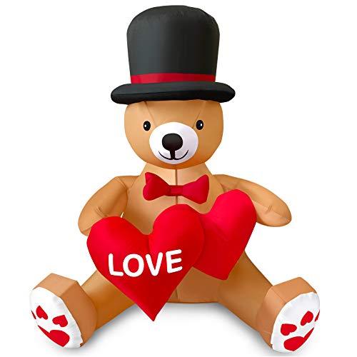MIAHART - Oso de Peluche Inflable de San Valentín de 4 pies con corazón de Amor, Decoraciones para el día de San Valentín al Aire Libre para Decoraciones navideñas de jardín