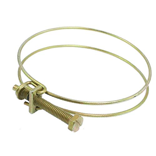 X-DREE Brass Tone Metal 3'-3.5' Double Hoop Ring Adjustable Hose Clamps(Abrazaderas de manguera ajustables de anillo de aro doble', metal, tono de bronce, 3 '' - 3.5 '