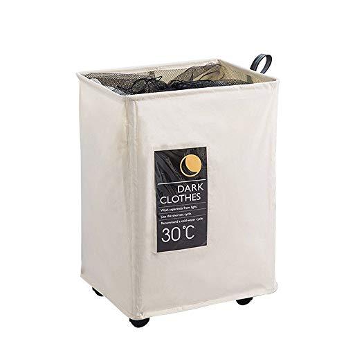 Wasmand ruimtebesparende wasmand op wieltjes, drectdoeken, wasmand voor wasmand voor grote wasgoed, opbergmand, handige bewaarmand voor kleding en mand
