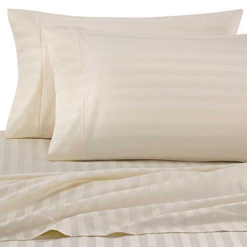 Wamsutta Damask Stripe 500-Thread-Count PimaCott Queen Sheet Set in Ivory