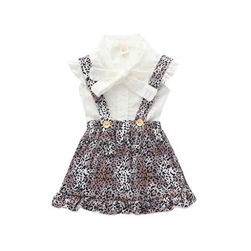 Sunnymi - Set di abbigliamento estivo per bambine da 0 a 4 anni, con volant e fascia per capelli bianco 3-4 Anni
