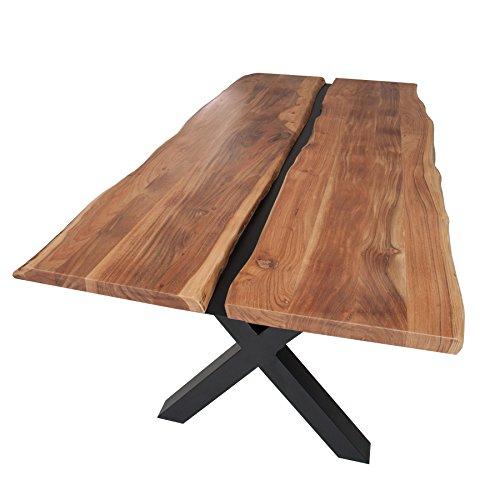 Massiver Esstisch AMAZONAS 200cm Akazie Metall schwarz Massivholz Esszimmertisch Holztisch Konferenztisch aus Akazienholz