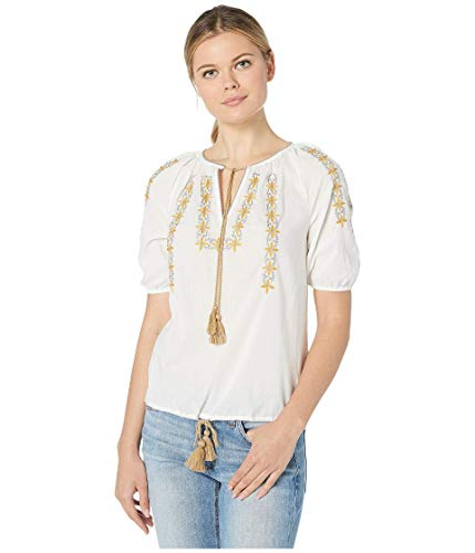 Lucky Brand Women's Embroidered Kelly Peasant TOP, Marshmallow, L