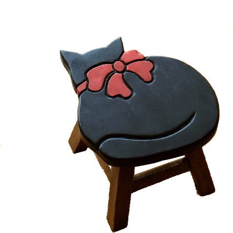 スツール 木製 椅子 ミニスツール 玄関 花台 ミニテーブル ウッドチェア おしゃれ 雑貨 猫 ネコ ねこ ローチェア 低い 腰掛け 子供椅子 黒ネコさん [tom1519]
