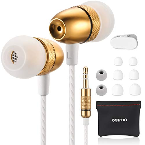 Betron ELR50 Noise Isolating Earphones, In Ear Headphones, Enhanced Bass Sound with 3 Different Sized Earbuds, Compatible with iPhone, iPad, Samsung and Mp3 players, Includes Case, Gold (Without Mic)
