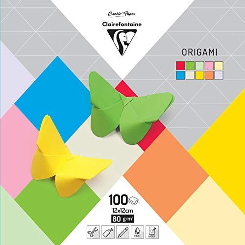 Clairefontaine 95008C Packung mit 100 Bögen Origamipapier einfarbig (12 x 12 cm, 80 g) 1 Pack farbig sortiert