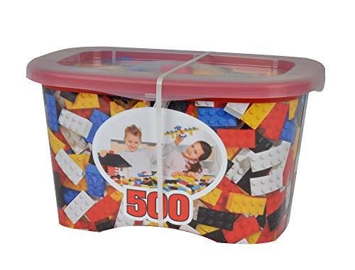 Simba 104114201 – Blox 500 – Boîte de 8 Briques pour Enfants à partir de 4 Ans, sans Plaque de Base, entièrement Compatible, Couleurs mélangées, Noir, Rouge, Blanc, Jaune, Bleu