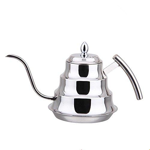 OnePine 1.2L/41oz Tetera de Acero Inoxidable, Cafetera Hervidores Cuello de Ganso con Desmontable infusor (Silver)