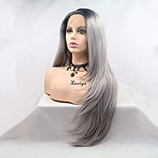 Xiweiya Grey Wig Ombre Long Hair Dark Root Natural Straight Lace Front Wigs Heat Resistant Glueless Wig Synthetic Wigs For Women Cosplay Party Wigs 180 Density Soft Full Wig 24 inches:Comoparardefumar