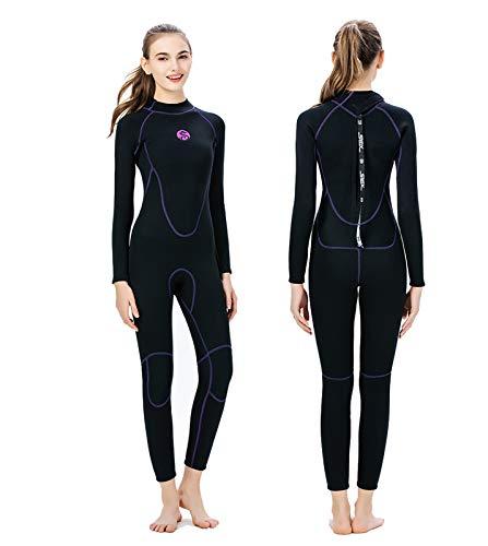 Traje de Neopreno Ultra Elástico de 3mm para Mujer, Trajes de Buceo Térmicos De Invierno Siameses De Una Pieza Wetsuit para Esnórquel, Surf, Natación,Black-XS