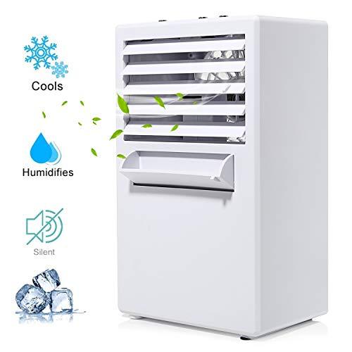 COMLIFE Climatiseur Portable, Mini Refroidisseur d'air avec 3 Vitesse, 3 en 1 Fonction- Ventilateur de Climatisation Personnel,Humidificateur et Purificateur d'air Silencieux,pour Bureau Chambre