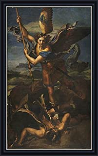 Raphael (St. Michael Overwhelming the Demon, 1518) Canvas Art Print Reproduction Framed with 2.6