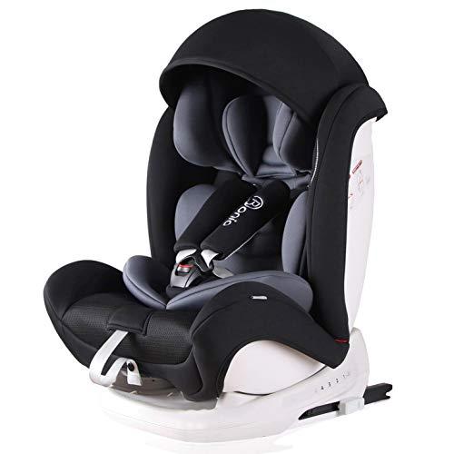 Bonio Kindersitz 9-36 kg Verstellbare Kopfstütze, Kinderautositz Gruppe 1 2 3, mit ISOFIX, 4 Sitzund Schlafpositionen, Autositz ab 9 Monate bis 12 Jahre (Schwarz-5)