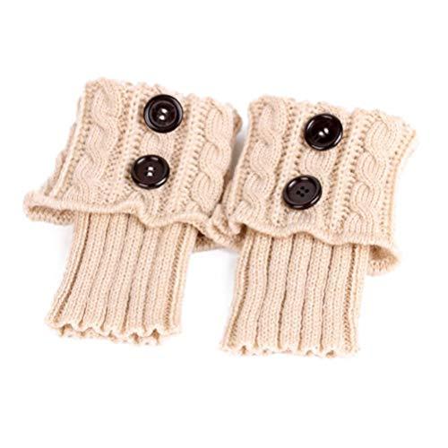 PRETYZOOM Topper De Bota Para Mujer Invierno Cálido Crochet Tejido Puños De Bota Calcetines Calentadores De Piernas Cortos Regalos (Beige)