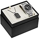 Bulova Box Set Quartz Calendar Mens Watch, Stainless Steel Crystal , Silver-Tone (Model: 96K104)
