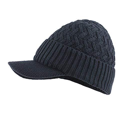 Mens Winter Hats Warm Fleece Lined Unisex Ribbed Knit Hat with Visor Beanie Skull Caps (Navy)