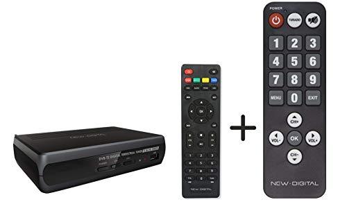Decoder DVB-T2 HEVCH265 10 BIT, Alta definizione, HDMI, funzione PVR non inclusa, media center, Dolby Sound, SCART + TELECOMANDO SENIOR INCLUSO