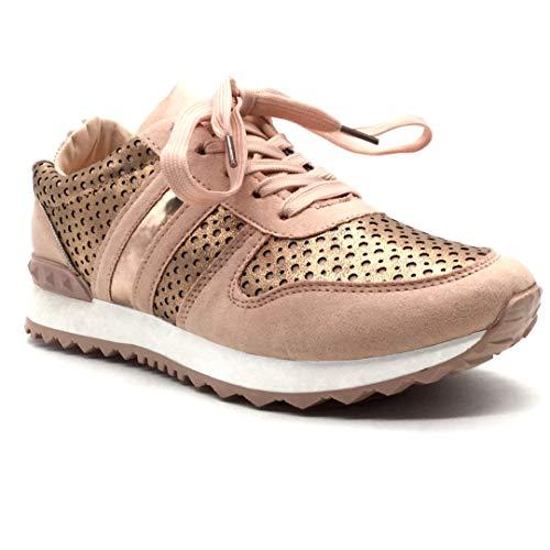 Angkorly - Scarpe Moda Sneaker Tennis Piatte Low Donna Perforato Borchiati Tacco Tacco Piatto 2.5 CM - Rosa 151-95 T 38
